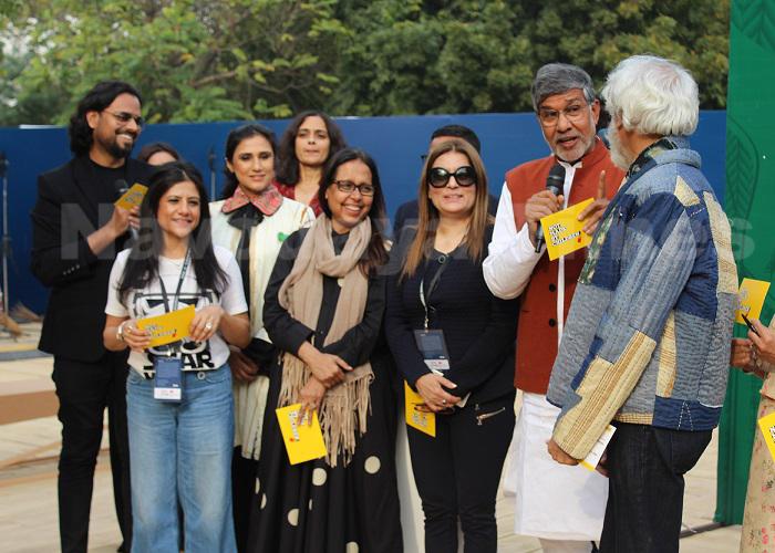 एफडीसीआई डिज़ाइनरों ने नोबेल पुरस्कार विजेता कैलाश सत्यार्थी के साथ बाल मजदूरी के खिलाफ़ शपथ ली