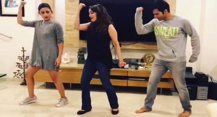 माधुरी ने सिखाया आलिया और वरूण को इस गाने पर डांस, देखें Video