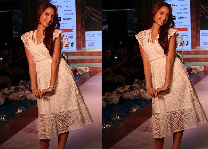 बॉलीवुड अभिनेत्री  नोरा फतेही  ने  फैशन शो के पहले दिन शो स्टॉपर बनके लोगो का दिल लूटा