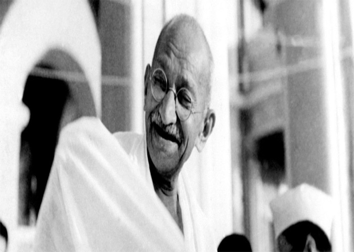 Mahatma Gandhi in happy mood