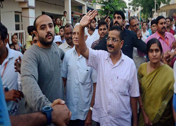 Arvind kejriwal in a rally