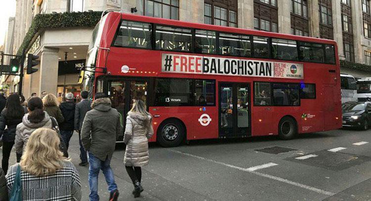 लंदन तक पहुंचीबलूचिस्तान की आजादी की गूंज-बसों पर लगेपोस्टर