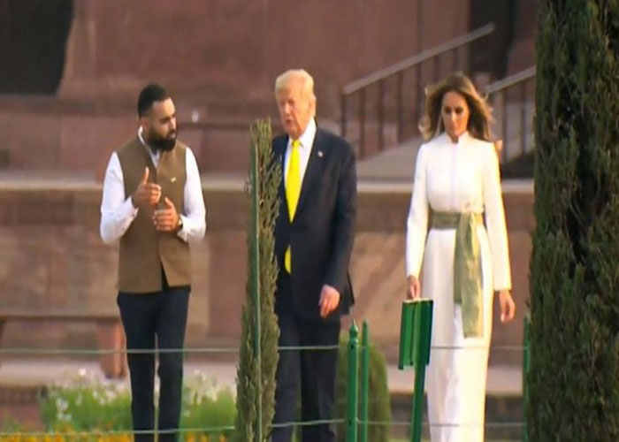 Donald trump with tourist guide and wife melania trump