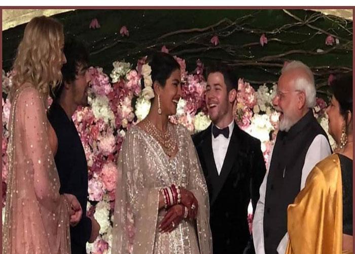 रिसेप्शन पार्टी में रॉयल लुक में नजर आए प्रियंका-निक, PM मोदी भी पहुंचे