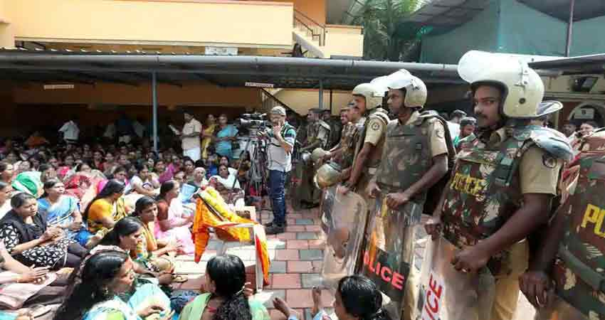 सबरीमाला मंदिर: BJP-RSS ने CM के आवास के बाहर किया प्रदर्शन, आज युवा मोर्चा का हल्ला बोल