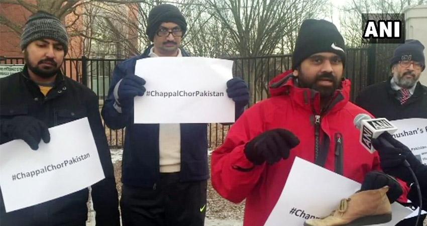कुलभूषण जाधव मामले को लेकर US में विरोध प्रदर्शन, पाकिस्तान को बताया जा रहा ''चप्पल चोर''