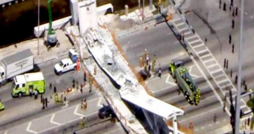 मियामी: फ्लोरिडा इंटरनेशनल यूनिवर्सिटी के पास गिरा फुट ओवर ब्रिज, 4 लोगों की मौत