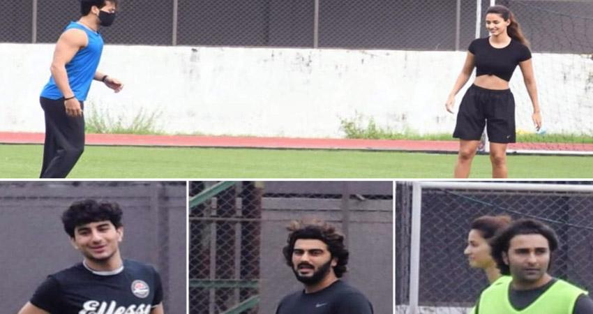 सैफ के बेटे इब्राहिम के साथ फुटबॉल खेलती दिखीं Disha, टाइगर-अर्जुन भी आए नजर