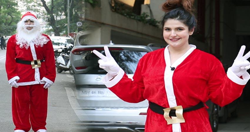 Santa बनकर मुंबई की सड़कों पर घूमती नजर आईं जरीन खान, वीडियो हो रहा वायरल