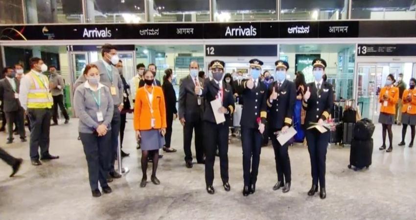 एअर इंडिया की महिला पायलटों ने रचा इतिहास, नॉर्थ पोल क्रॉस कर बेंगलुरु पहुंची फ्लाइट
