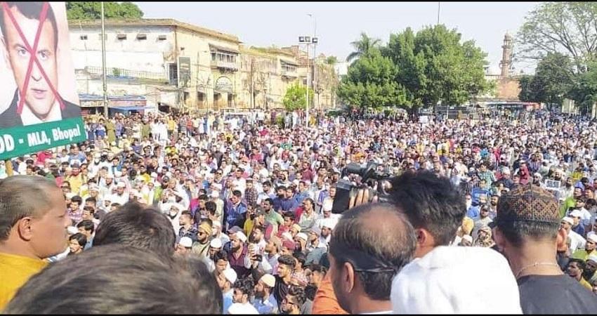 भोपाल में फ्रांस के राष्ट्रपति के खिलाफ प्रदर्शन, CM शिवराज ने कहा- मध्यप्रदेश शांति का टापू