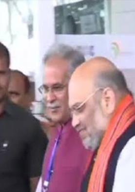 केंद्रीय गृहमंत्री अमित शाह पहुंचे रायपुर, मध्य...