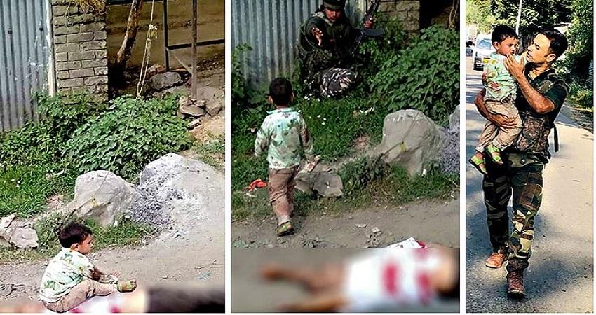 जम्मू-कश्मीर: सोपोर में आतंकियों की गोलियों से जवान ने बच्चे को बचाया, तस्वीर हुई वायरल
