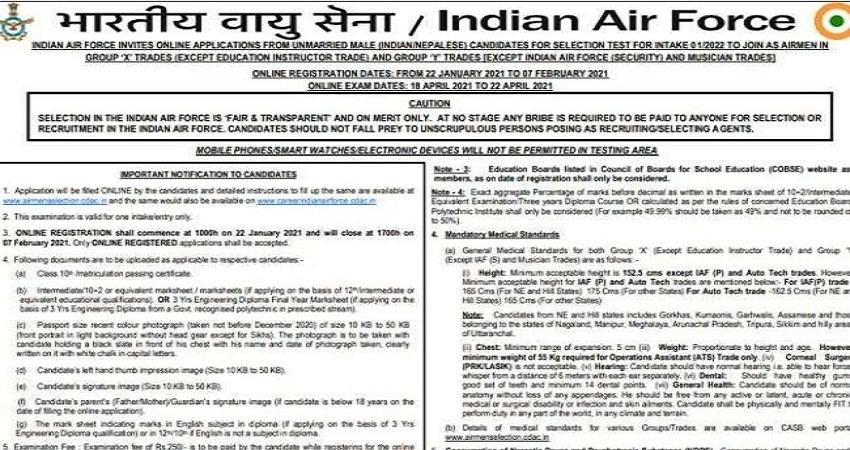 IAF Airmen Recruitment 2021: वायु सेना में एयरमेन के पदों पर बंपर भर्ती, जानें क्या है अंतिम तिथि
