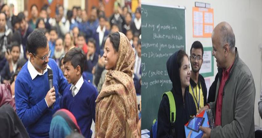 सरकारी स्कूलों की PTM में पहुंचे केजरीवाल और सिसोदिया, अभिभावकों से की मुलाकात