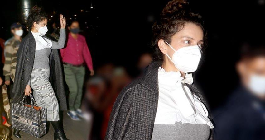 कड़ी सुरक्षा के साथ मुंबई पहुंची कंगना, वीडियो में दिखा एक्ट्रेस का टशन