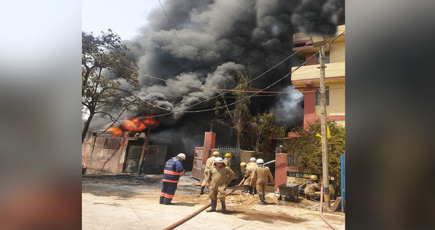 दिल्ली: नारायणा की केमिकल फैक्ट्री में लगी भीषण आग, मौके पर दमकल की 30 गाड़ियां मौजूद