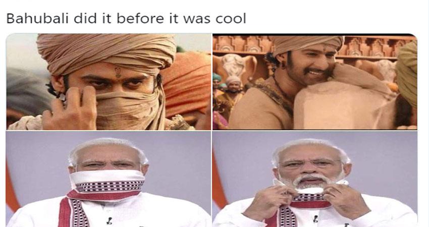 सोशल मीडिया पर वायरल हुआ PM मोदी का गमछा, यूजर्स ने बाहुबली से की तुलना