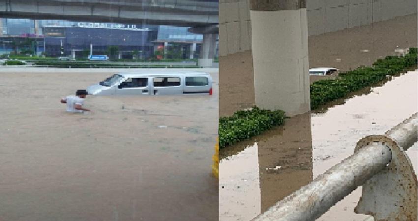 दिल्ली-NCR में मूसलाधार बारिश, कहीं जलमग्न सड़कों में डूबी कारें, कहीं गिरी दीवार