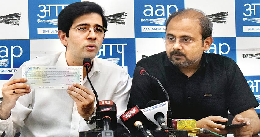 केंद्र पर AAP का वार, राघव चड्ढा ने राजनाथ को भेजा 2.5 रुपए का ड्राफ्ट