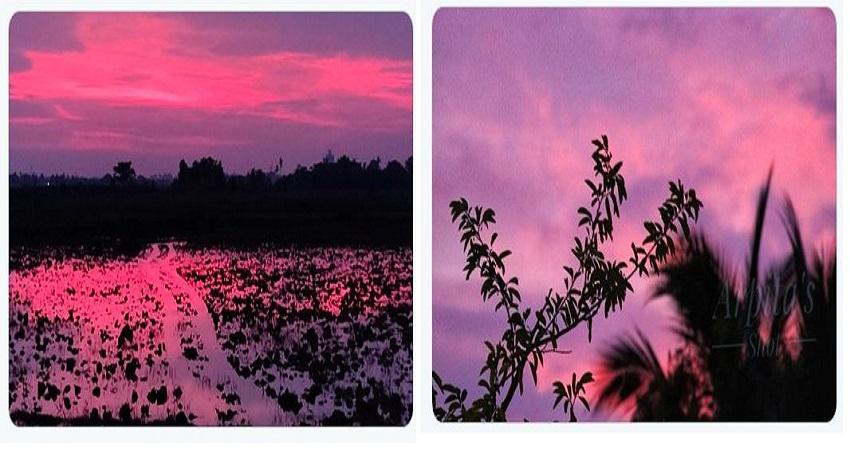 अम्फान तूफान के गुजरने के बाद भुवनेश्वर का आसमान हुआ गुलाबी, लोगों ने शेयर की तस्वीरें