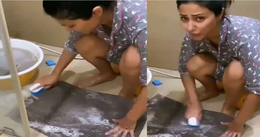 डोरमेट साफ करते हुए रो पड़ी हिना खान,सोशल मीडिया पर वायरल हुआ Video