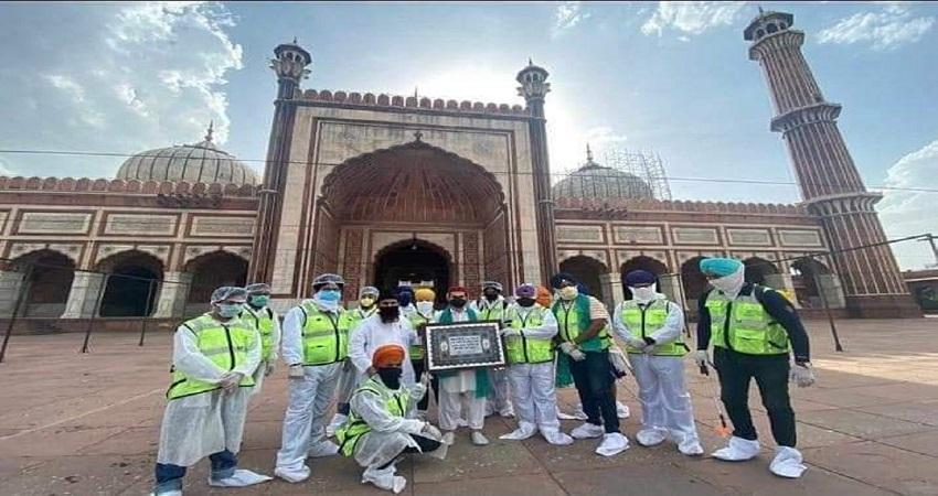 भारतीय एकता की मिसाल- सिख समुदाय ने जामा मस्जिद को किया सैनिटाइज