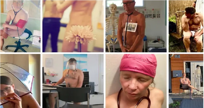 पीपीई सूट की कमी के खिलाफ जर्मनी में डॉक्टरों ने किया नग्न विरोध प्रदर्शन