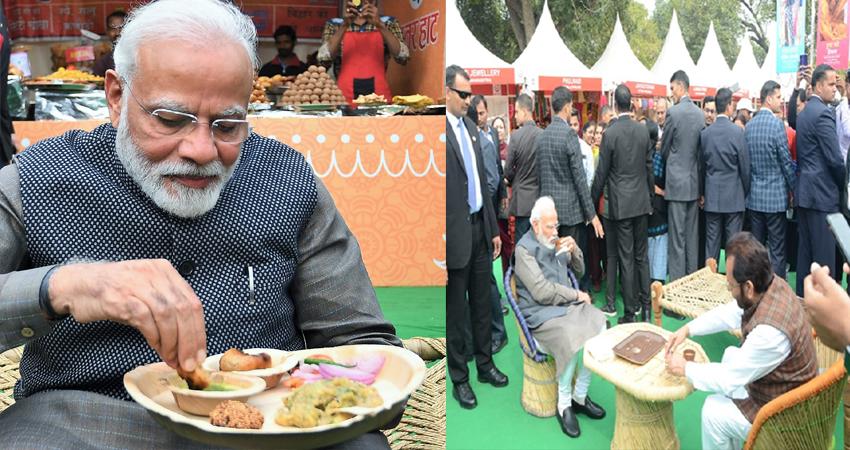 ''हुनर हाट' पहुंचे PM मोदी, लिट्टी-चोखा और कुल्हड़ चाय का लिया जायका