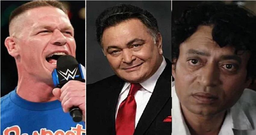 WWE स्टार जॉन सीना ने ऋषि कपूर और इरफान खान की तस्वीर शेयर कर जताया दुःख
