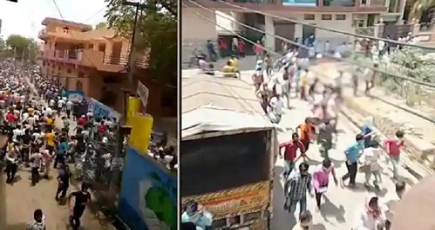 गुरुग्रामः घर वापसी की जिद्द पर अड़े प्रवासी मजदूरों पर पुलिस ने चलाई लाठी, मची भगदड़
